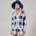 Knitted Gingham Cardigan